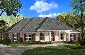 Southern , French Country , Country House Plan 51959 with 4 Beds, 3 Baths, 2 Car Garage Elevation