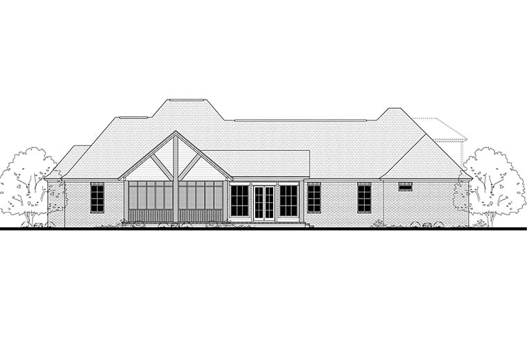 Country French Country Traditional Rear Elevation of Plan 51960