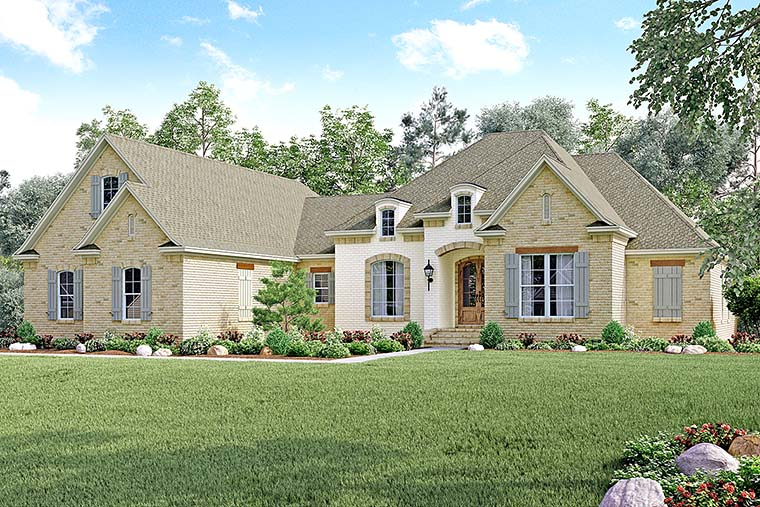 Country, European, French Country House Plan 51962 with 4 Beds, 4 Baths, 2 Car Garage Elevation