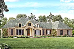 Country , European , French Country , Southern House Plan 51963 with 4 Beds, 3 Baths, 3 Car Garage Elevation