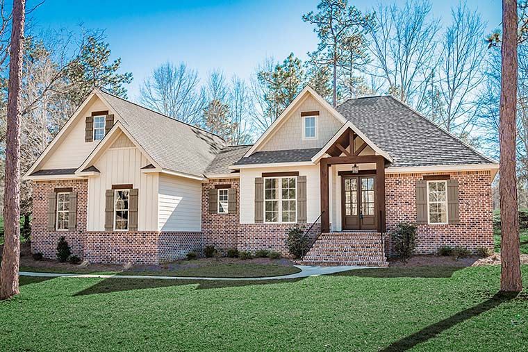 Country, FrenchCountry, Traditional, House Plan 51966 with 3 Beds, 3 Baths, 2 Car Garage Elevation