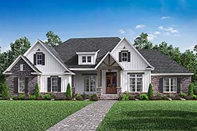 Country , Craftsman , Farmhouse , Southern , Traditional House Plan 51968 with 4 Beds, 3 Baths, 2 Car Garage Elevation