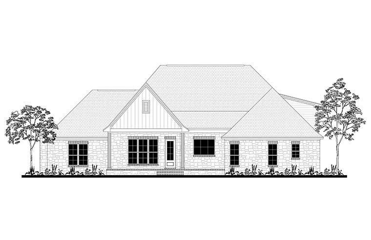 Country Craftsman Farmhouse Southern Traditional Rear Elevation of Plan 51968
