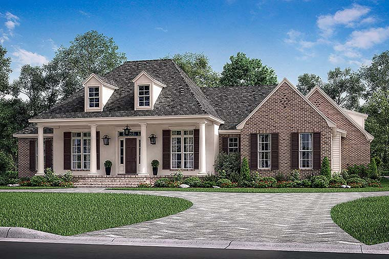 French Country , European , Country House Plan 51970 with 3 Beds, 3 Baths, 2 Car Garage Elevation