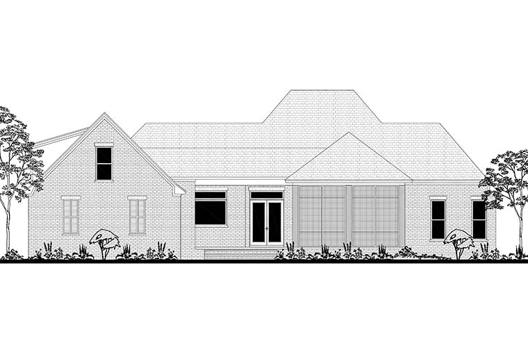 French Country , European , Country House Plan 51970 with 3 Beds, 3 Baths, 2 Car Garage Rear Elevation