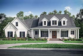 Country , Farmhouse , Southern House Plan 51974 with 4 Beds, 4 Baths, 3 Car Garage Elevation
