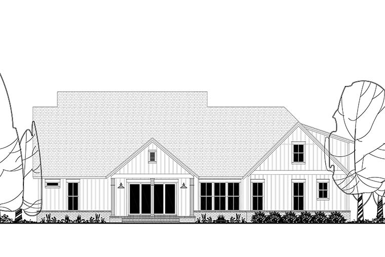 Country Farmhouse Southern House Plan 51974 Rear Elevation