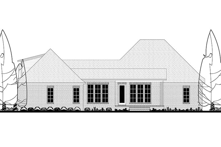 Country , Craftsman , French Country House Plan 51975 with 3 Beds, 3 Baths, 2 Car Garage Rear Elevation