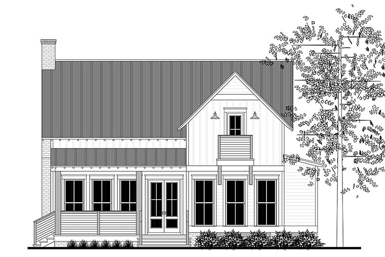 Cabin Country Farmhouse Southern House Plan 51976 Rear Elevation