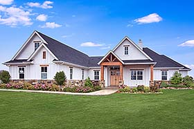 Cottage , Craftsman , Southern House Plan 51978 with 5 Beds, 4 Baths, 3 Car Garage Elevation