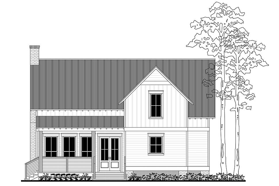 Country Farmhouse Southern Traditional Rear Elevation of Plan 51979