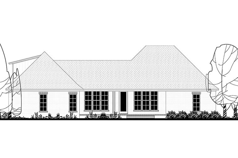 Country, Craftsman, Farmhouse House Plan 51981 with 4 Beds, 3 Baths, 2 Car Garage Rear Elevation