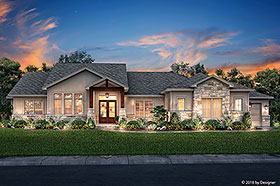 Bungalow , Contemporary , Cottage , Craftsman , Tuscan House Plan 51982 with 3 Beds, 3 Baths, 3 Car Garage Elevation