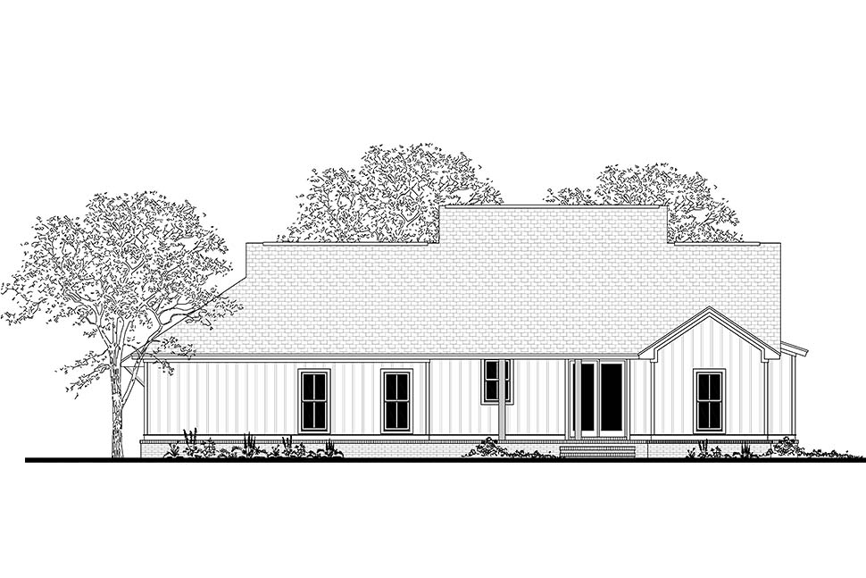 Cottage , Country , Craftsman , Farmhouse , Southern House Plan 51985 with 3 Beds, 2 Baths, 2 Car Garage Rear Elevation