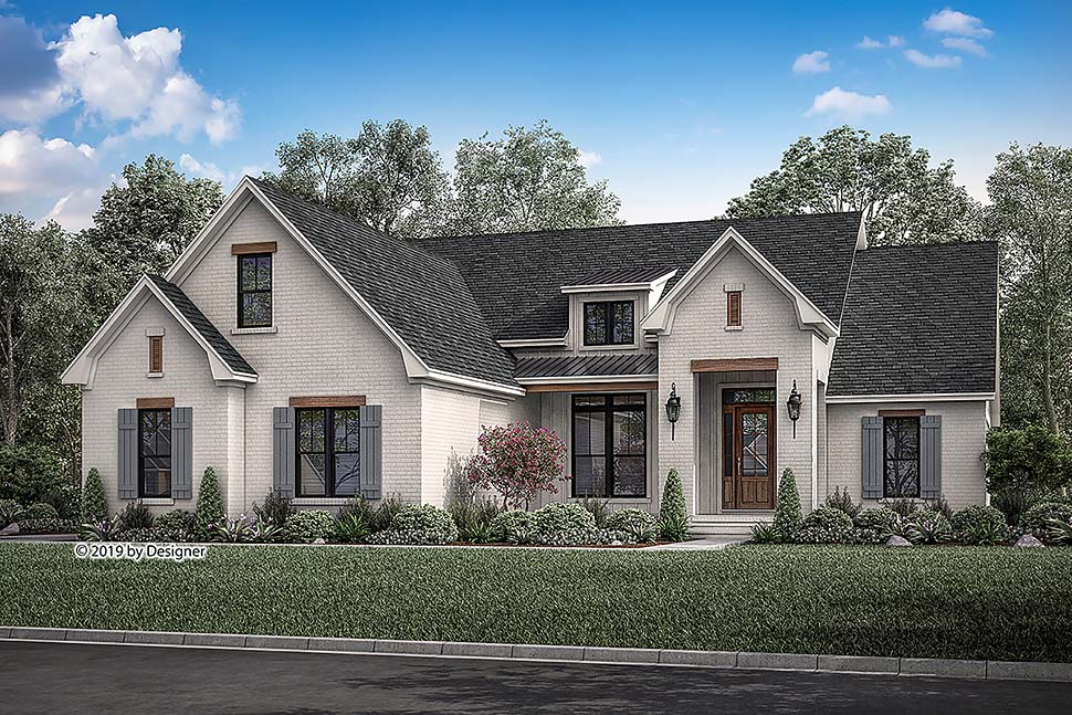 Country, European, Traditional House Plan 51986 with 3 Beds , 2 Baths , 2 Car Garage Elevation