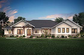 Country , Craftsman , Ranch House Plan 51987 with 4 Beds, 4 Baths, 3 Car Garage Elevation