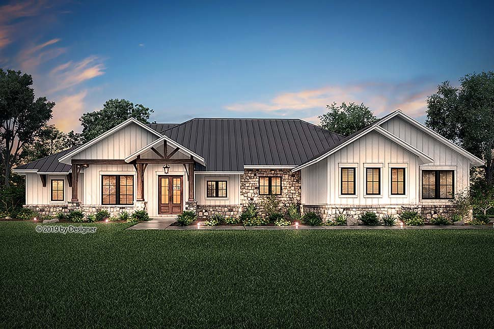 Country, Craftsman, Ranch House Plan 51987 with 4 Beds, 4 Baths, 3 Car Garage Elevation
