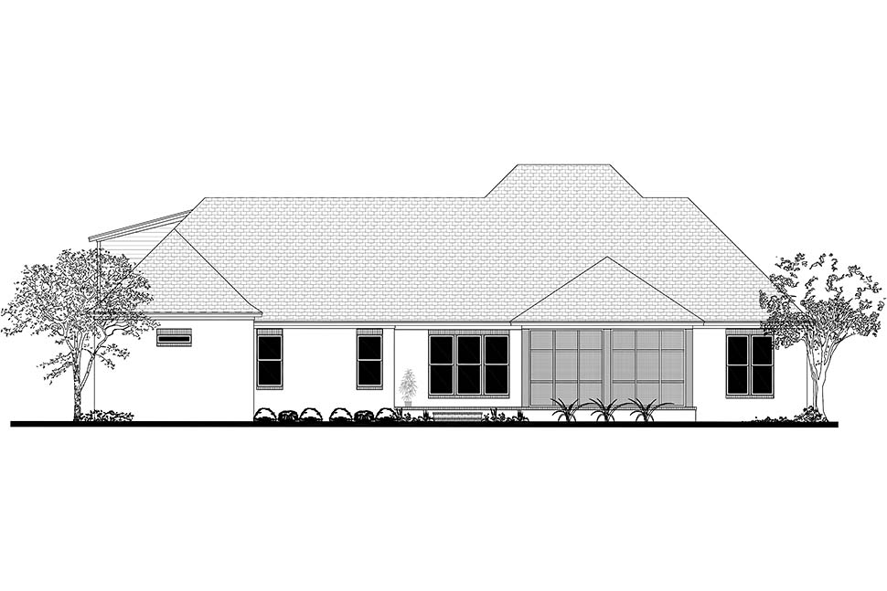 European French Country Ranch Southern Rear Elevation of Plan 51989