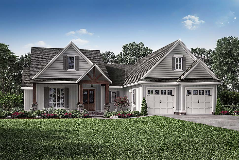 House Plan 51990 | Cottage Country Craftsman Style Plan with 2074 Sq Ft, 3 Bedrooms, 2 Bathrooms, 2 Car Garage Elevation
