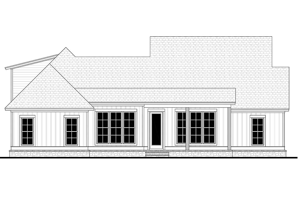 Cottage, Country, Craftsman House Plan 51990 with 3 Beds, 2 Baths, 2 Car Garage Rear Elevation
