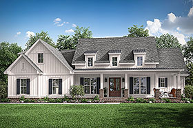Traditional , Craftsman , Country House Plan 51993 with 3 Beds, 3 Baths, 2 Car Garage Elevation
