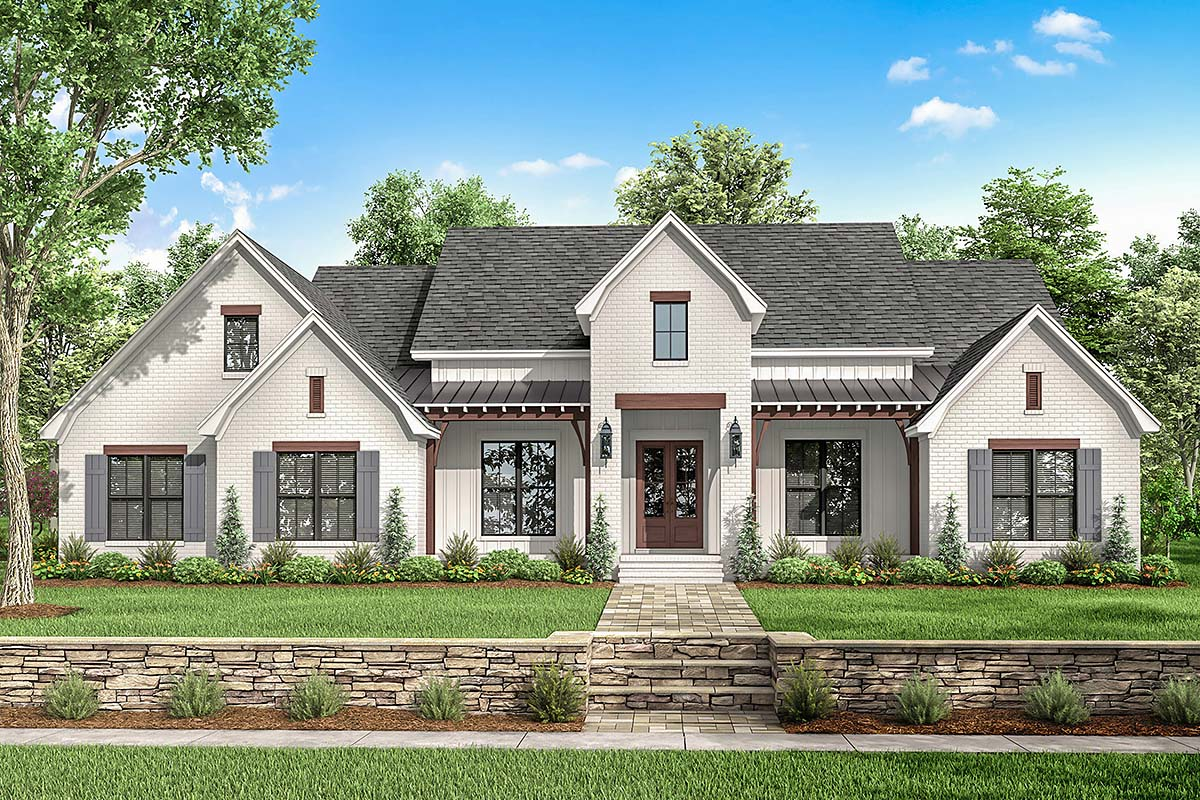 Country , Farmhouse , Modern , Traditional House Plan 51995 with 4 Beds, 4 Baths, 2 Car Garage Elevation
