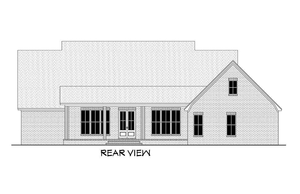 Country , Farmhouse , Modern , Traditional House Plan 51995 with 4 Beds, 4 Baths, 2 Car Garage Rear Elevation