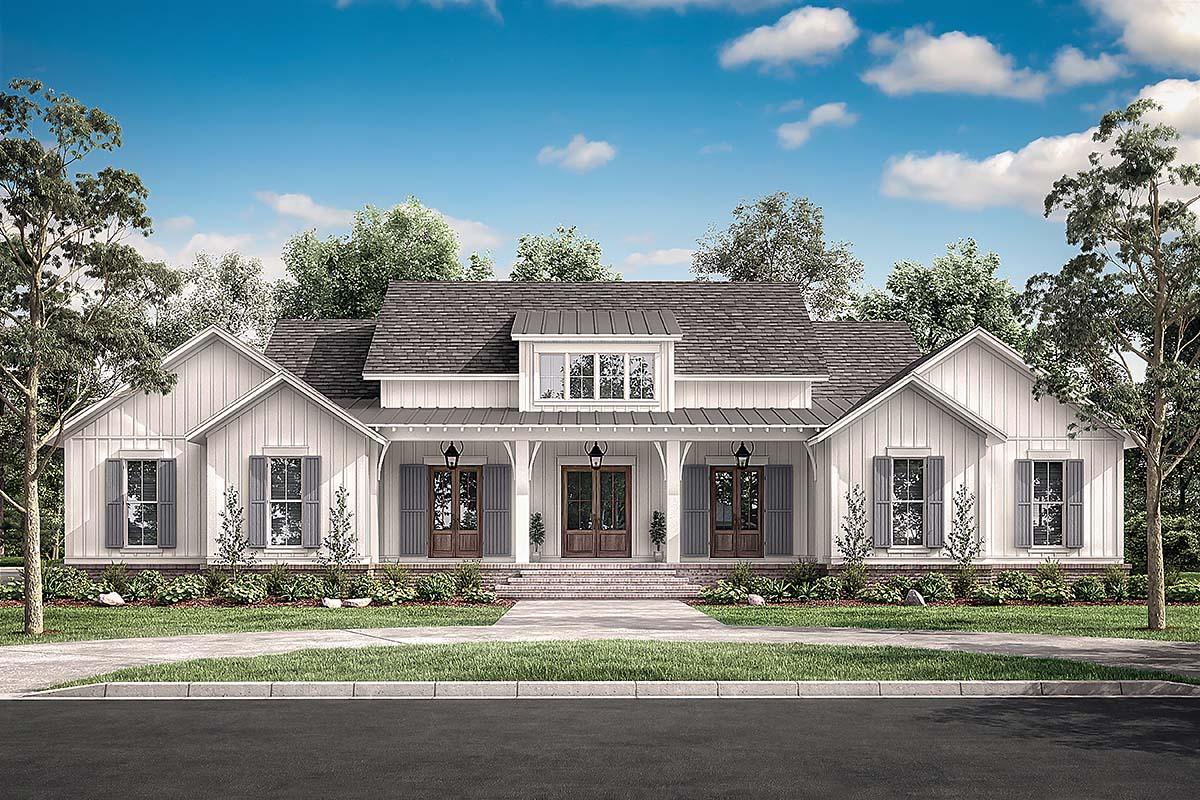Country, Craftsman, Farmhouse, Traditional House Plan 51996 with 4 Beds, 4 Baths, 2 Car Garage Elevation