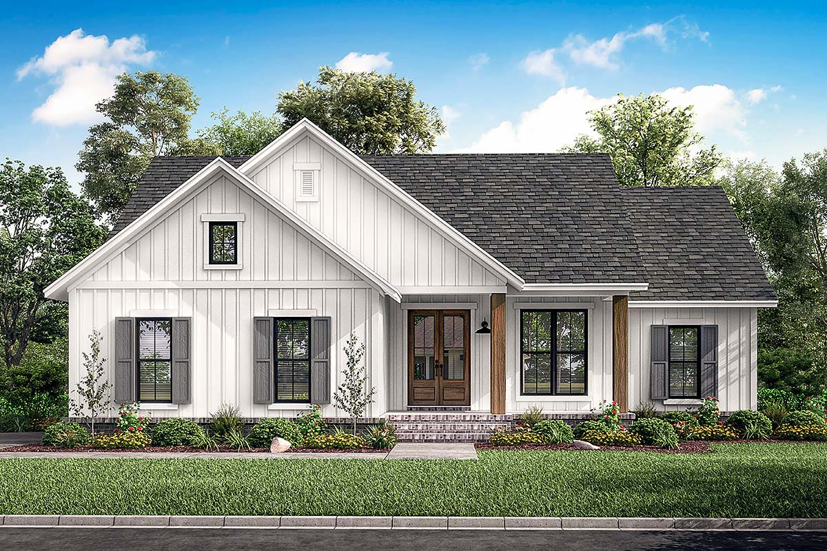 Country, Farmhouse, Southern, Traditional House Plan 51997 with 3 Beds , 2 Baths , 2 Car Garage Elevation