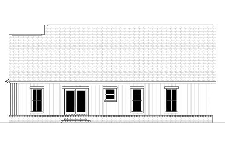 Country, Farmhouse, Southern, Traditional House Plan 51997 with 3 Beds , 2 Baths , 2 Car Garage Rear Elevation