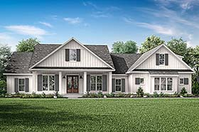 Country , Farmhouse , Southern House Plan 51998 with 4 Beds, 3 Baths, 2 Car Garage Elevation