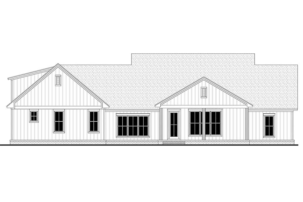 Country , Farmhouse , Southern House Plan 51998 with 4 Beds, 3 Baths, 2 Car Garage Rear Elevation