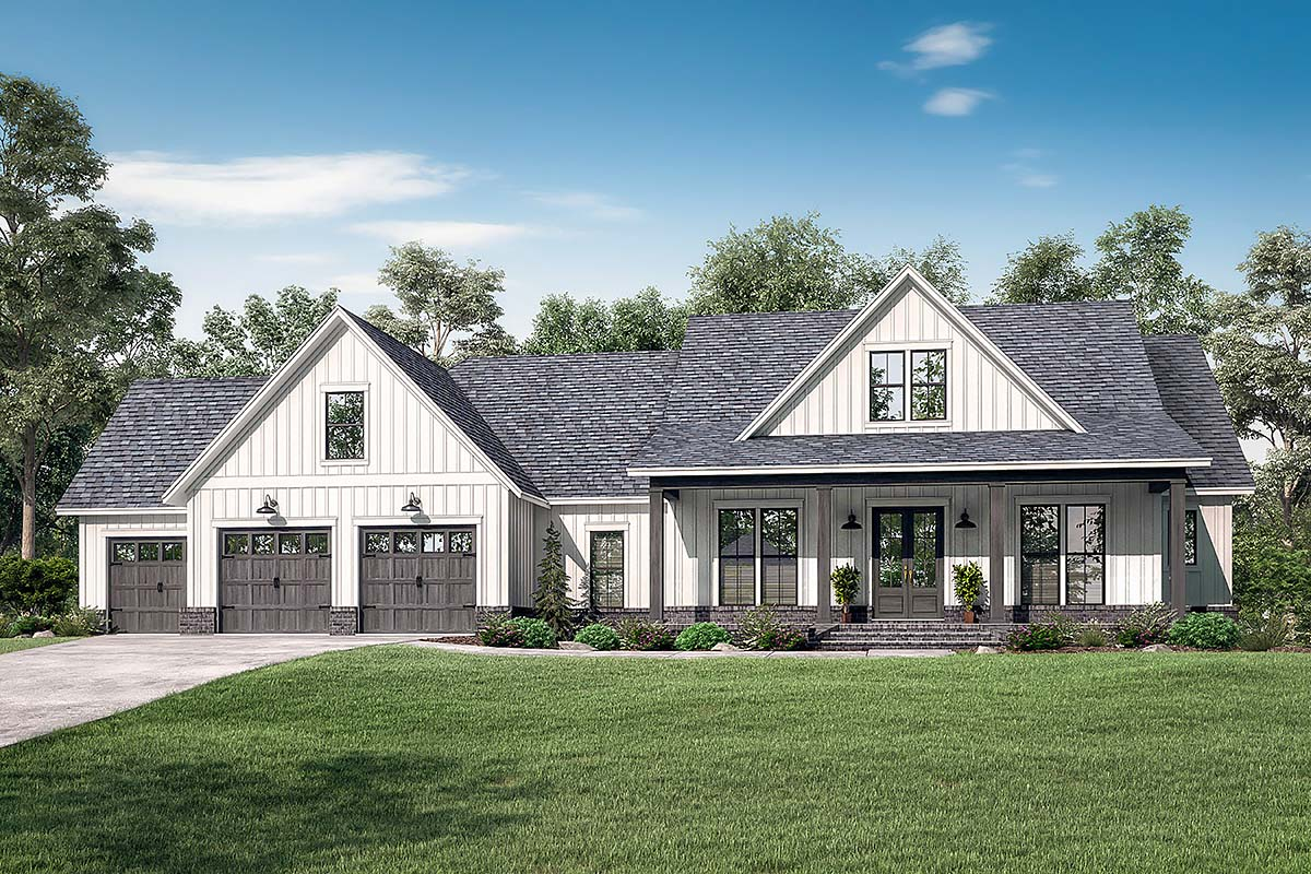 Country , Farmhouse , Southern , Elevation of Plan 51999