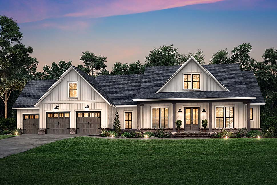 Country, Farmhouse, Southern House Plan 51999 with 4 Beds, 4 Baths, 3 Car Garage Picture 4