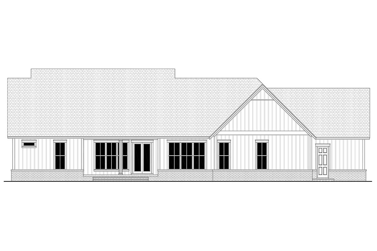 Country Farmhouse Southern Rear Elevation of Plan 51999