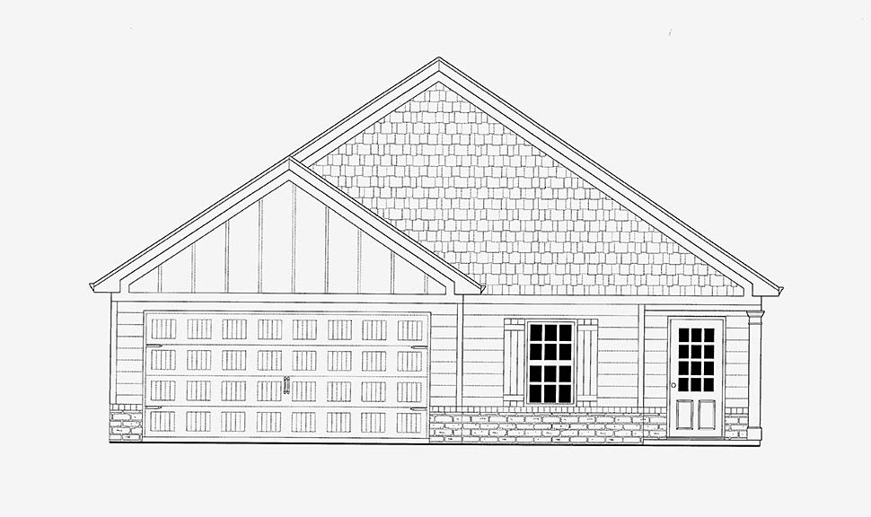 Bungalow, Cottage, Craftsman House Plan 52000 with 3 Beds, 2 Baths, 2 Car Garage Picture 1