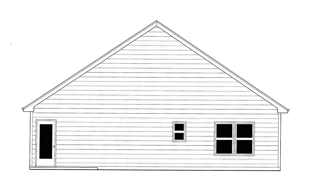 Bungalow, Cottage, Craftsman House Plan 52000 with 3 Beds, 2 Baths, 2 Car Garage Rear Elevation