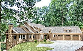 Craftsman House Plan 52009 with 4 Beds, 4 Baths, 3 Car Garage Elevation