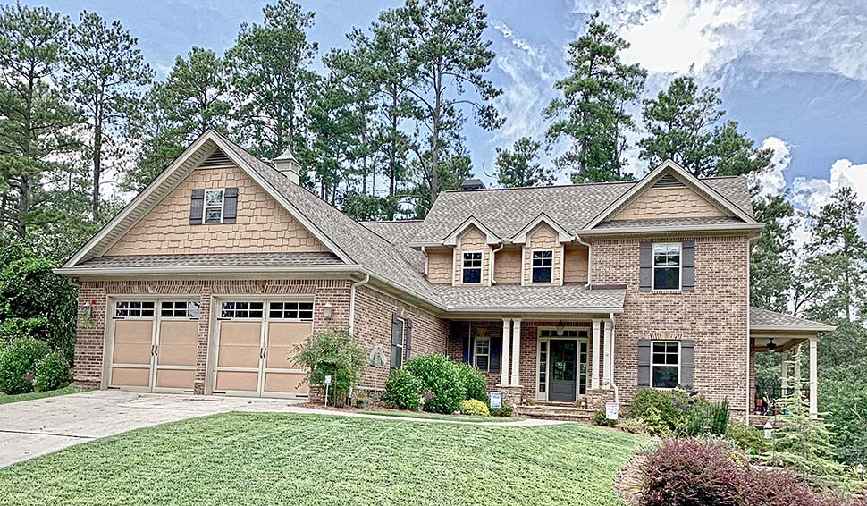 Craftsman, Traditional House Plan 52012 with 4 Beds, 3 Baths, 2 Car Garage Elevation