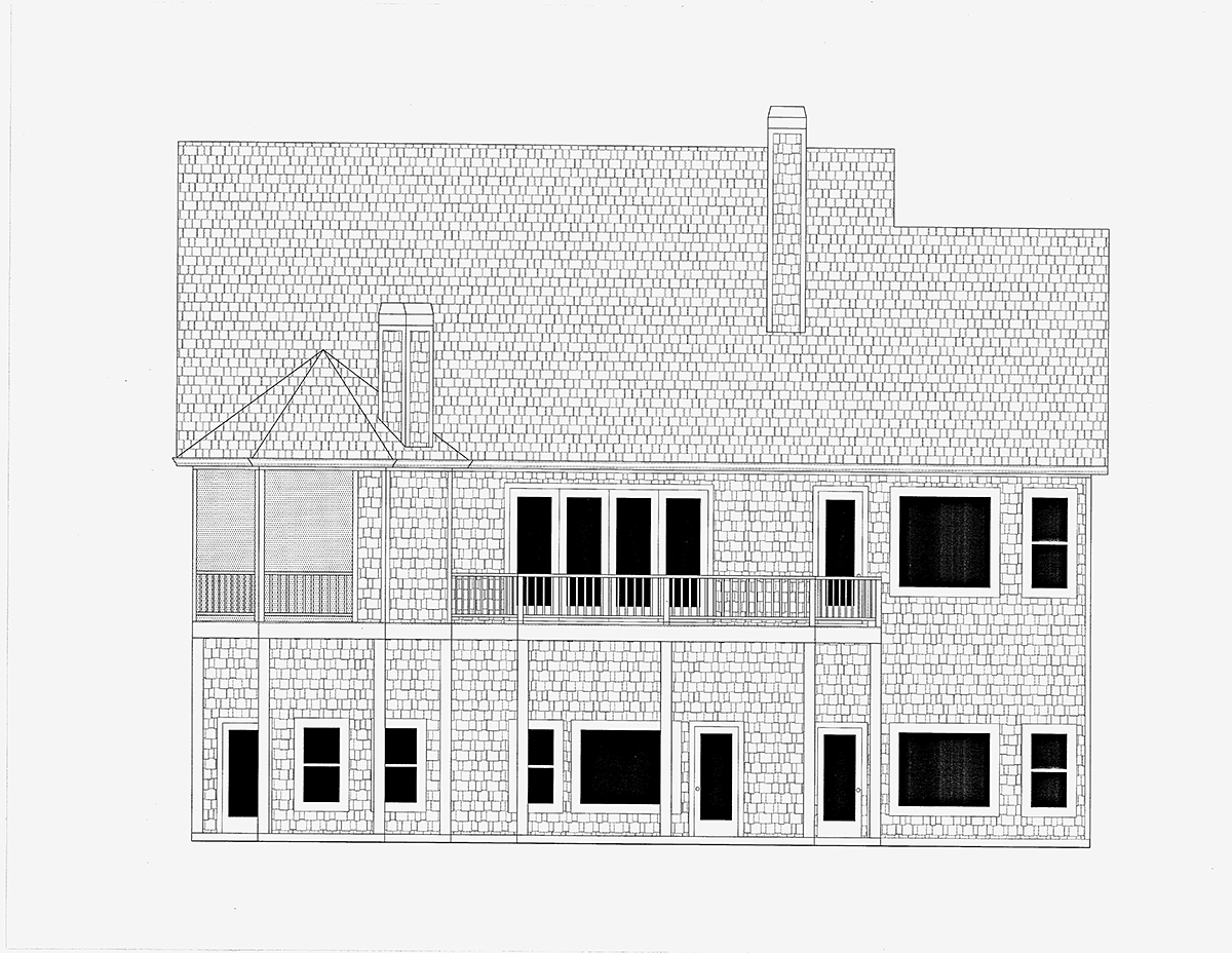 Cottage Craftsman Rear Elevation of Plan 52014