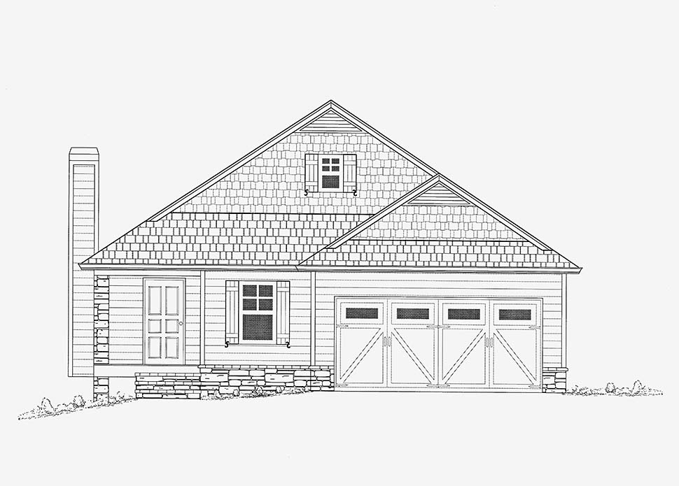 Bungalow, Cottage House Plan 52016 with 3 Beds, 3 Baths, 2 Car Garage Picture 1