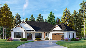 Craftsman House Plan 52020 with 3 Beds, 2 Baths, 2 Car Garage Elevation