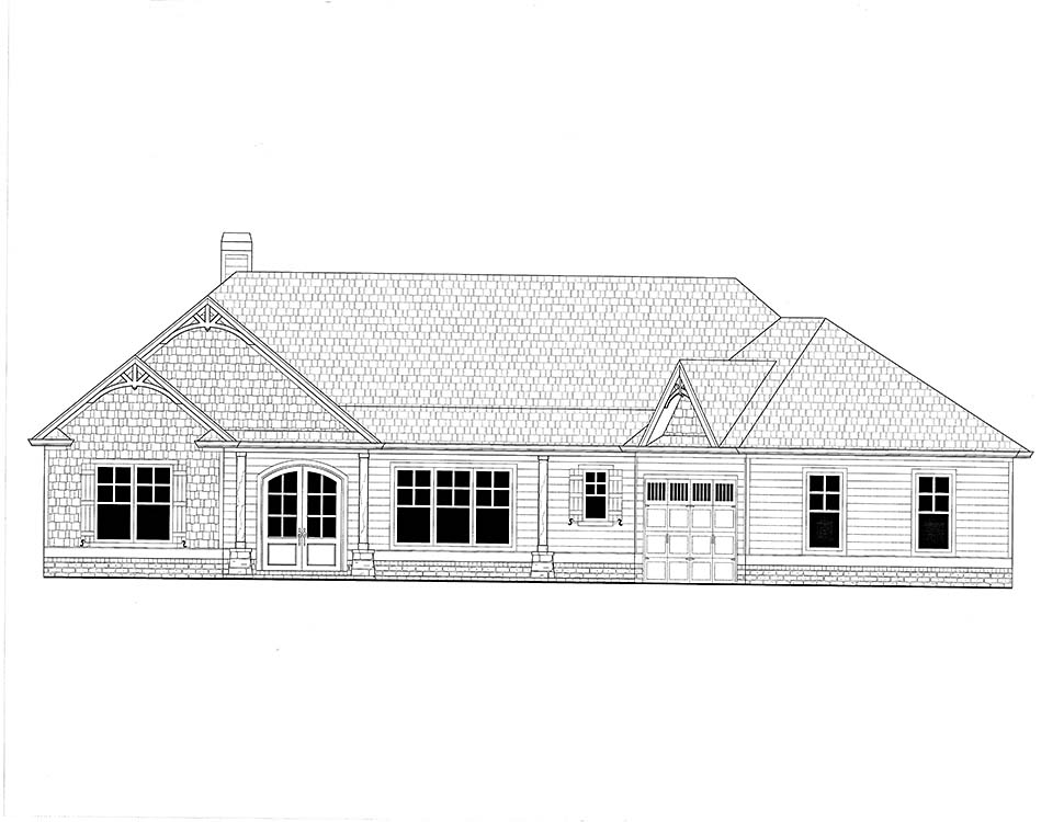 Craftsman House Plan 52020 with 3 Beds, 2 Baths, 2 Car Garage Picture 1