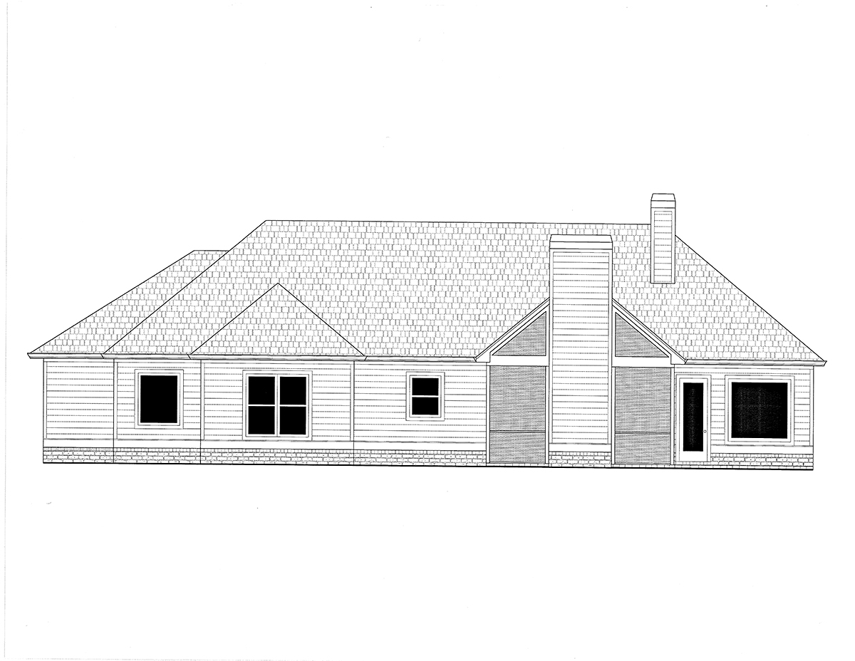 Craftsman House Plan 52020 with 3 Beds, 2 Baths, 2 Car Garage Rear Elevation