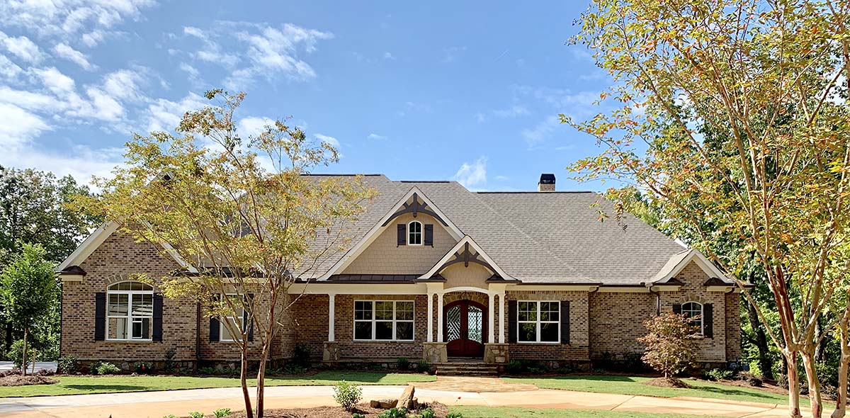 Craftsman, Ranch, Tudor House Plan 52021 with 4 Beds, 5 Baths, 3 Car Garage Elevation