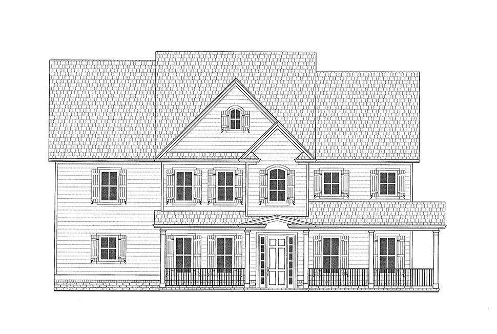 Farmhouse, Traditional House Plan 52022 with 4 Beds, 5 Baths, 4 Car Garage Picture 3
