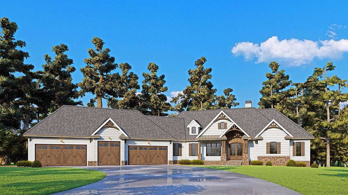 Craftsman, Farmhouse, Southern House Plan 52024 with 4 Beds, 4 Baths, 5 Car Garage Elevation