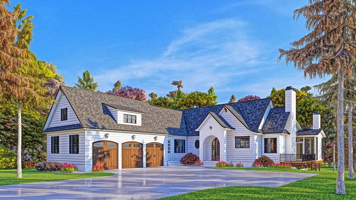 Modern Farmhouse, Modern House Plan 52025 with 4 Beds , 5 Baths , 3 Car Garage Elevation