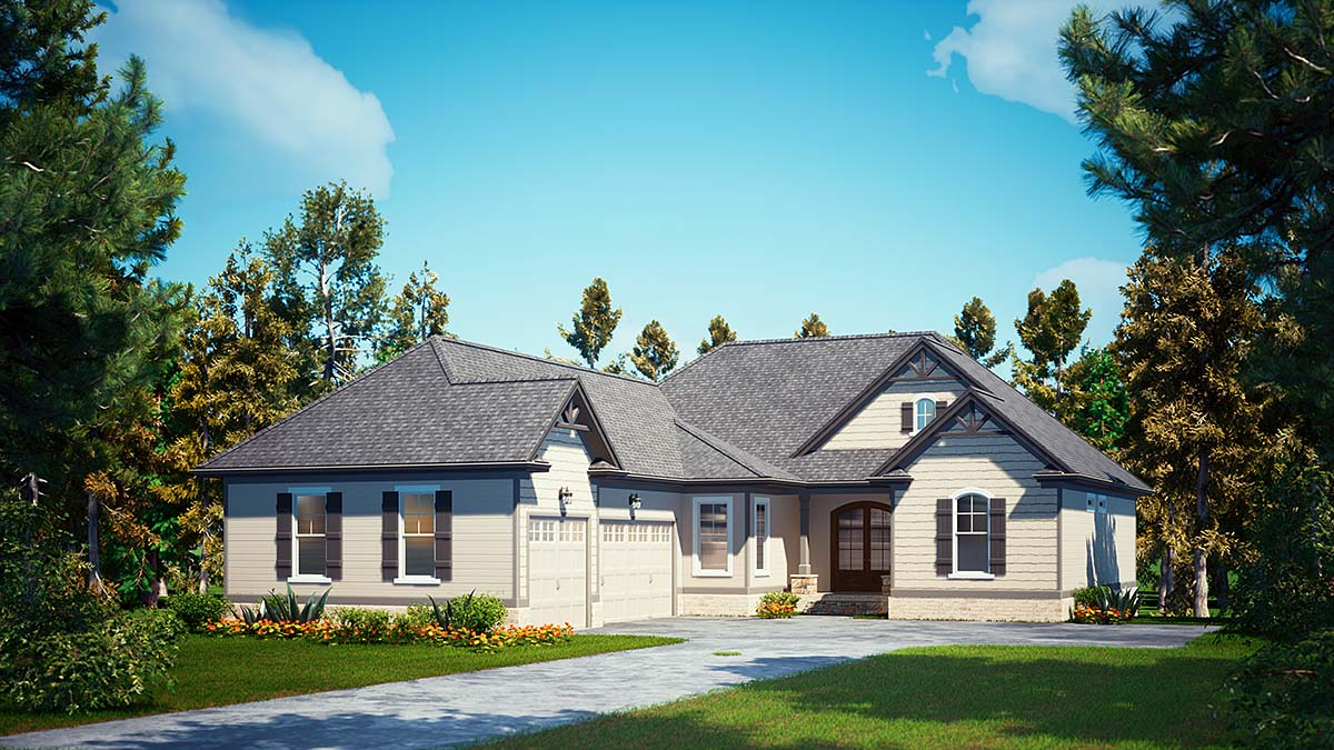 Craftsman, Farmhouse House Plan 52031 with 4 Beds, 4 Baths, 3 Car Garage Elevation