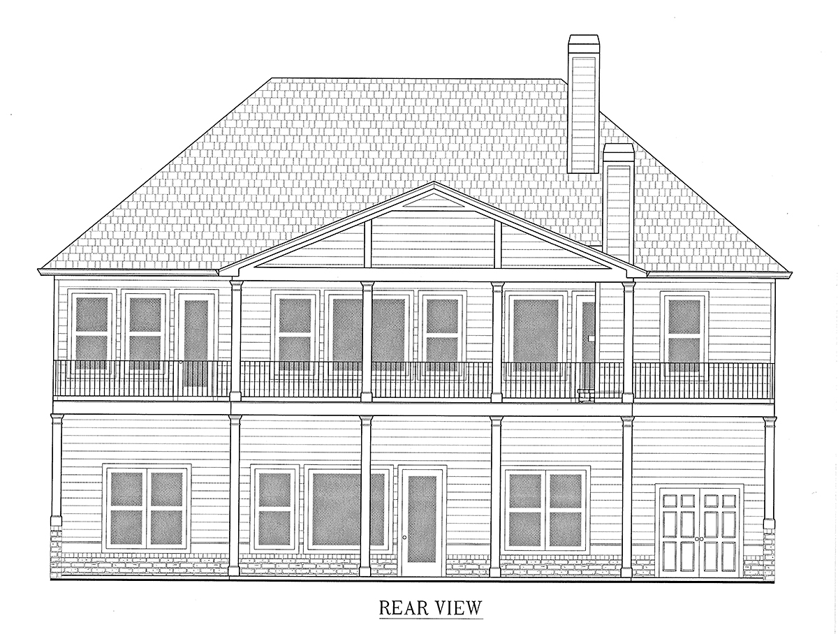 Craftsman, Farmhouse House Plan 52031 with 4 Beds, 4 Baths, 3 Car Garage Rear Elevation